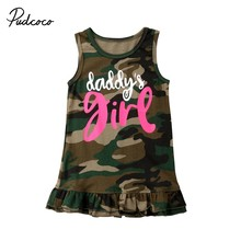 Summer Toddler Kids Baby Girls Dress Army Green Camouflage Letter Print Sleeveless Vest Loose Tutu Dresses Sundress Outfit 1-6Y(China)
