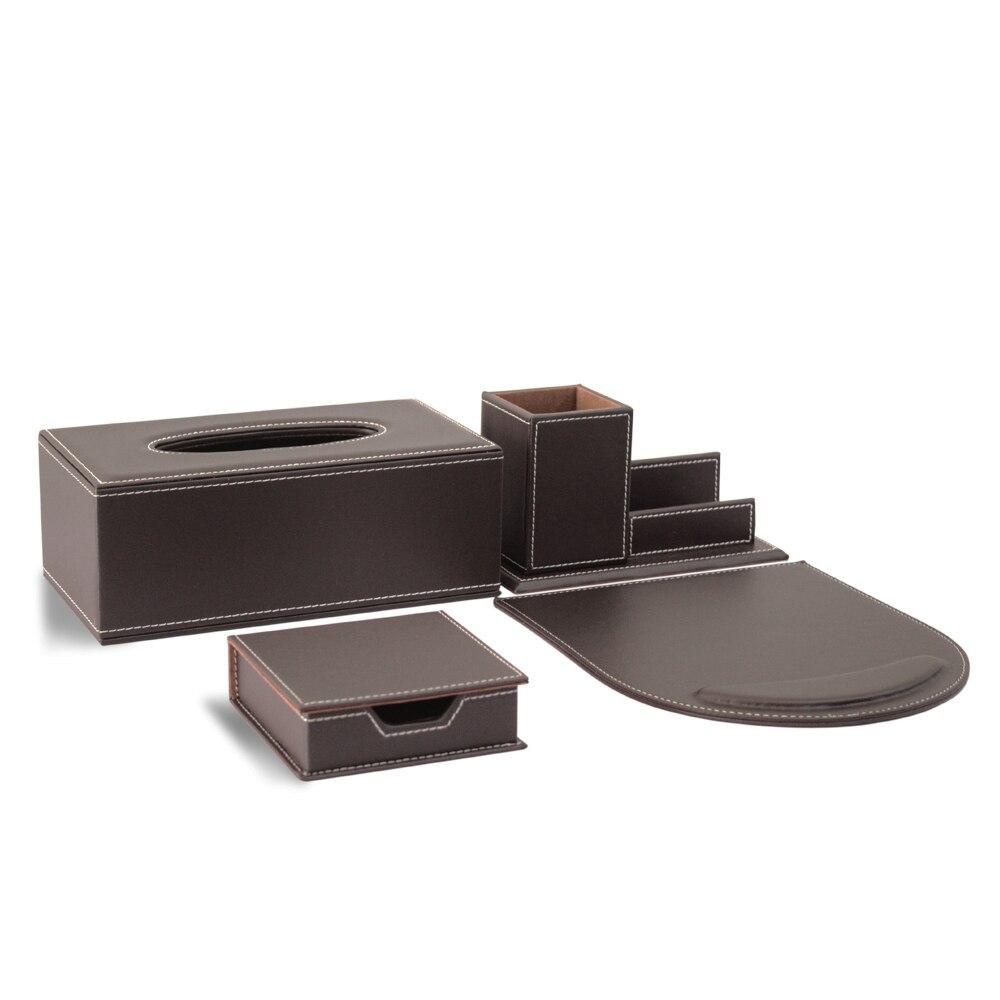 4 pièces moderne haut de gamme en cuir fournitures de bureau ensembles porte-stylo porte-carte mémo case tapis de souris ensembles de bureau brun