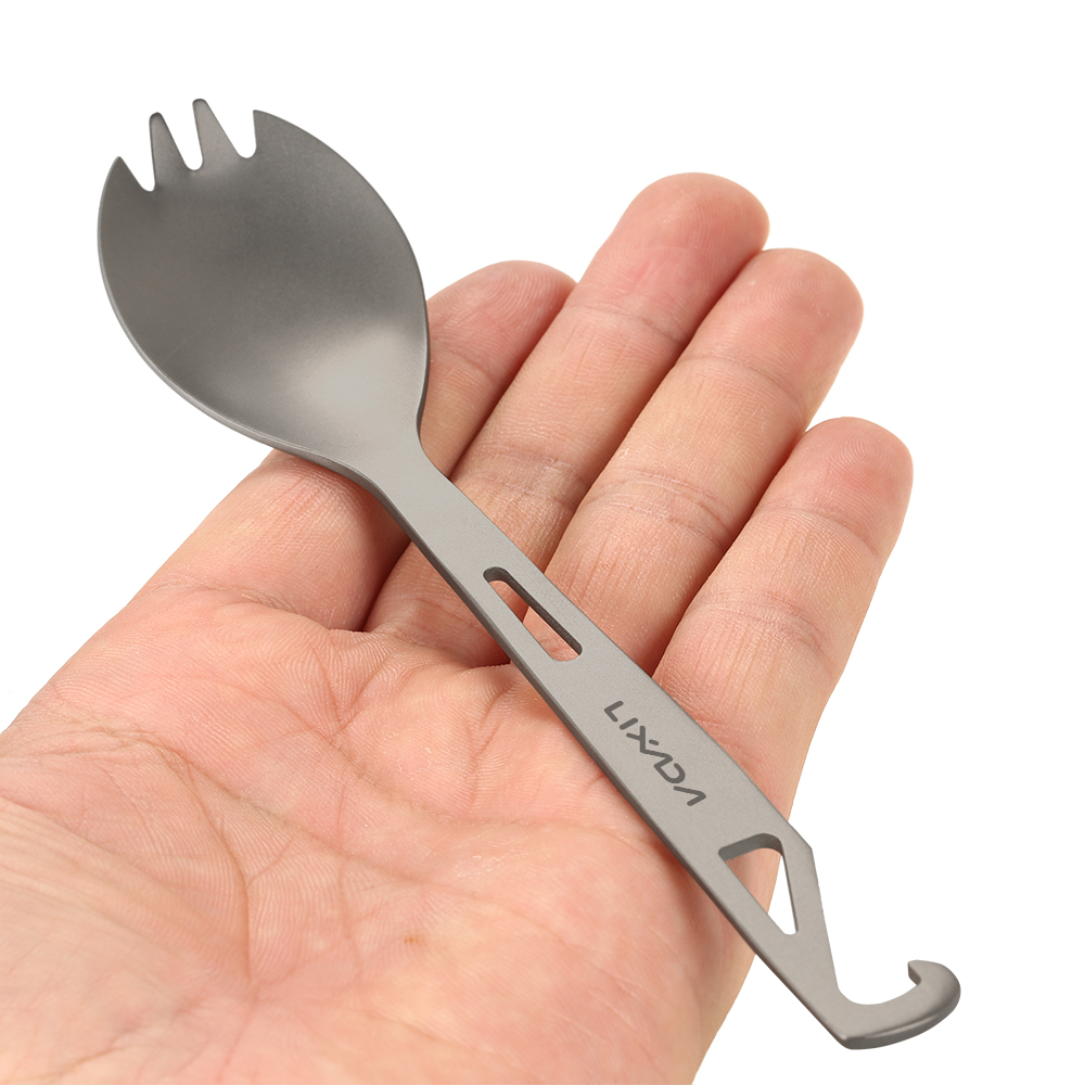 Helpful Titanium Spork Outdoor Tableware Portable Camping Cutlery With Corkscrew Multifunctional Spoon Fork Ultralight Strong Resistance To Heat And Hard Wearing Camping & Hiking
