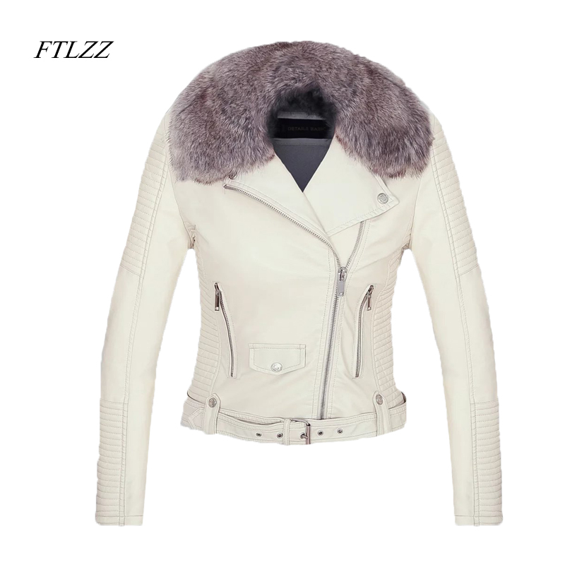 FTLZZ New 2019 Women Winter Faux Leather Jacket Warm Large Fur Collar Lady Motorcycle Pu Faux