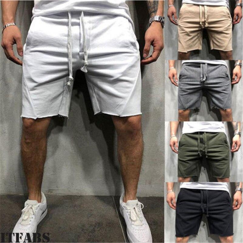 New US Men Sport Short Pants Pocket Casual Summer Jogging Trousers Solid Drawstring Shorts