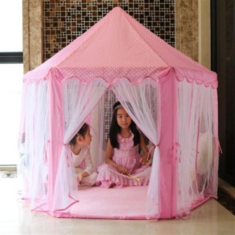 Cute Hexagon Playhouse Girls Princess Castle Children Kids Large Indoor Play Tent image