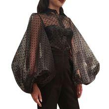2019 Summer Women Polka Dot Print Shirt Black White Mesh Transparent Blouses Lantern Long Sleeve Organza Blouses flounce sleeve transparent dot mesh shirt