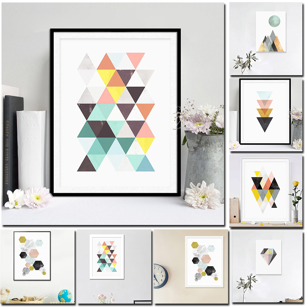 1* Nordic Simple Style Abstract Diamond Decorative Painting Moden Home Decorations Accessories Creative Gift Oil Painting