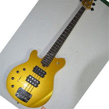 Factory 4 Strings Metal Yellow Electric Bass Guitar,Open Pickups,Chrome Hardwares,Left hand electric bass Can be Customized handmade leather guitar bass straps can be customized guitar accessories