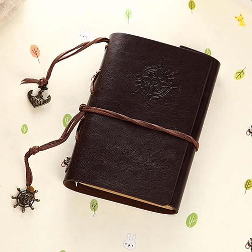 Retro Helm String Faux Leather Journal Travel Blank Diary A5 Loose-leaf Notebook leaf faux leather tassel strand bracelet