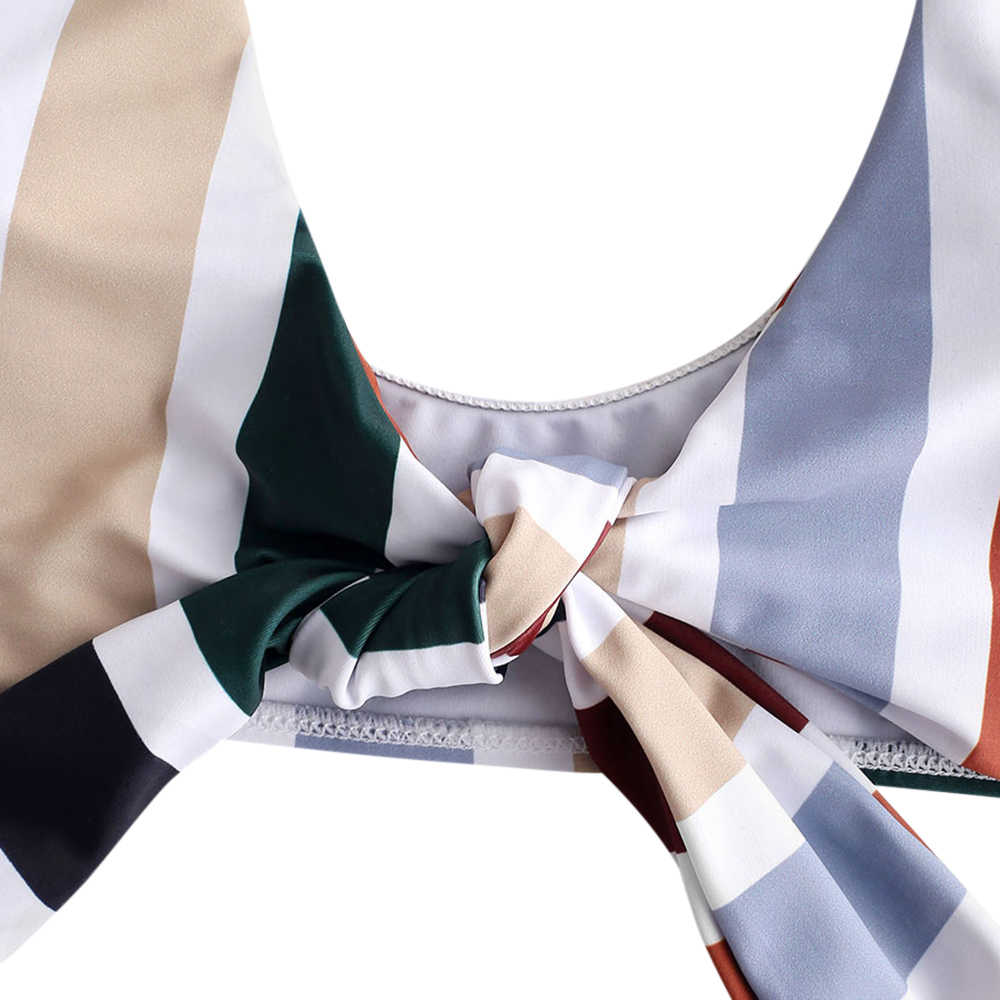 Zaful Wanita Vertical Stripe Cetak Seksi Pantai Baju Renang Fashion Cepat Kering Dua Potong Bikini Push-Up Bra Diikat Baju Renang set
