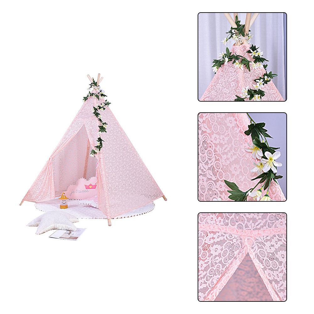 Tentes pour enfants Portable pliant luxe dentelle princesse château tente enfants maison de jeu indien Triangle tentes enfants cadeau - 5