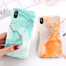 Marble Stripes Orange Phone Case For iPhone 7 8 Plus Cases Cover For iPhone XR XS Max 7 6 6S Plus IMD Silicone TPU Back Cover imd gel tpu skin for iphone 6s plus 6 plus pretty flowers and butterflies