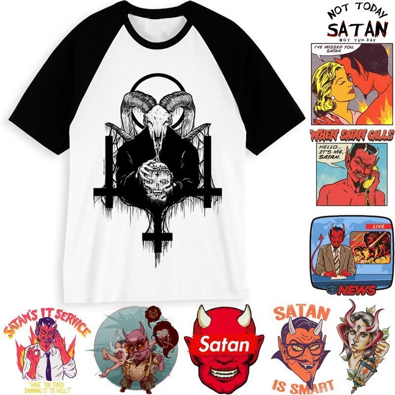 US $7 25 42% OFF|New Arrival Men Satan T Shirt Demon Death Scary Evil Hip  Hop Satanism Grim Reaper Evil T shirt Funny Satan Tshirt Male/female-in