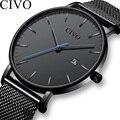 Новые модные роскошные часы CIVO  мужские водонепроницаемые ультра тонкие кварцевые часы с датой  мужские часы Reloj Hombre