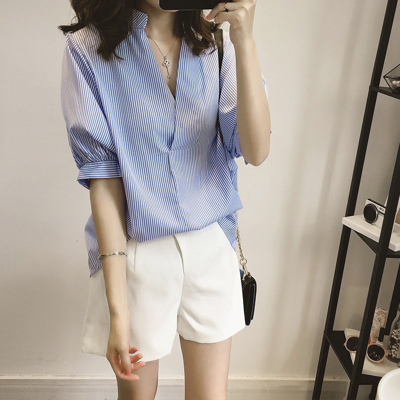 Summer Shirt Female 2019 New Style Women Striped Batwing Sleeve Top Leisure Stand Collar Shirt in Blouses amp Shirts from Women 39 s Clothing