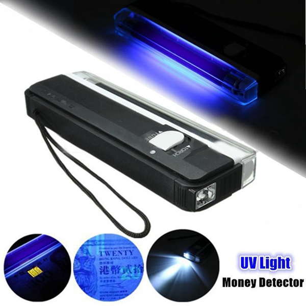 Smuxi 4W Mini Portable UV Lamp Ultraviolet Black Money Detector Bank Notes Check Torch Flash Light