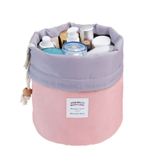 Fashion Barrel Shaped Drawstring Travel Cosmetic Bag Make Up Bag Elegant Drum Wash Kit Bags Makeup Organizer Storage Beauty Bag недорого