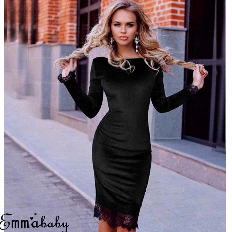 Женская Весенняя мода с длинным рукавом бархатное вечернее праздничное платье с круглым вырезом кружевное платье S-2XL