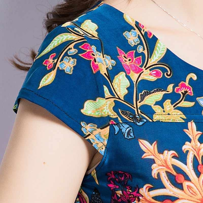 Лето 2019, круглый вырез, короткий рукав, молочный шелк, сарафан, свободный большой размер, женское платье среднего возраста, сексуальные тонкие платья с принтом