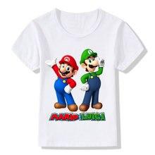 f99b9aedc Super Mario de dibujos animados con Luigi niños divertida camiseta bebé  niños niñas verano Casual Tops T camisa niños ropa HKP51.