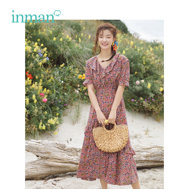 INMAN Summer V-neck Literary Retro Floral Holiday Style Defined Waist Slim A-line Women Long Dress