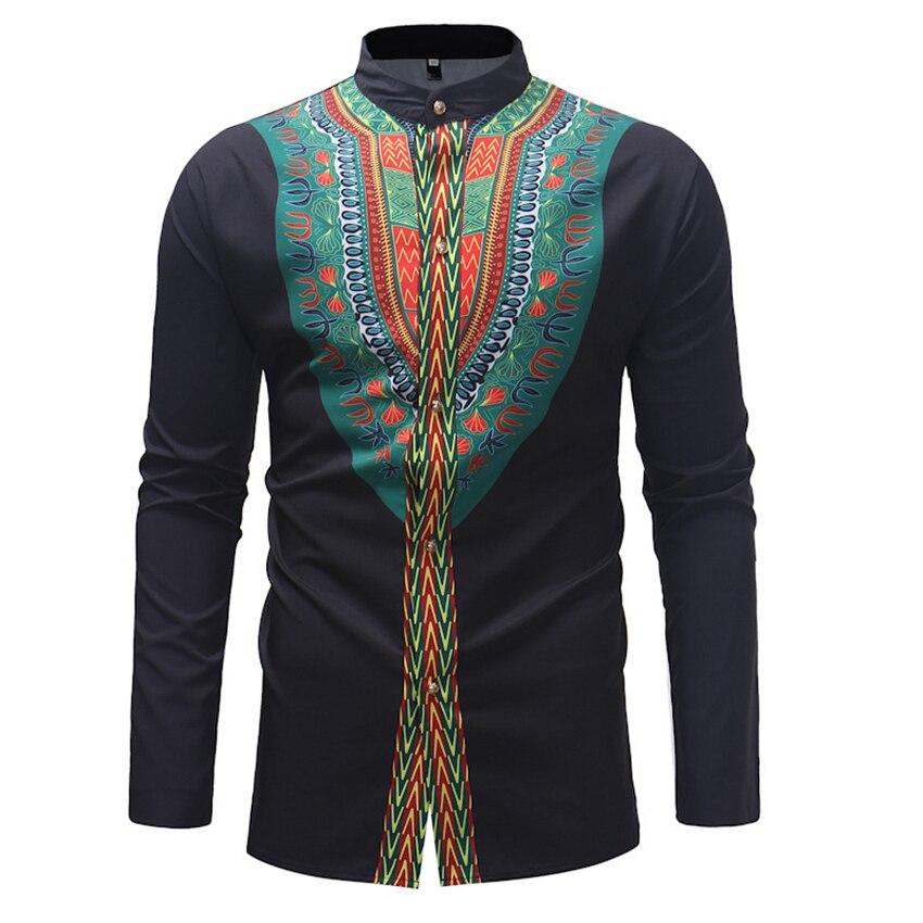 Riche Bazin African Style Men's Print T-shirt Africa Long Sleeve Dashiki Slim Dress Africa National Button T-shirts for Man