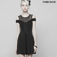 Gothic Mesh Stitching Strapless Mini A line Dress fashion slim Women Black Knitted Bind perspective Sexy Dress PUNK RAVE OPQ 367