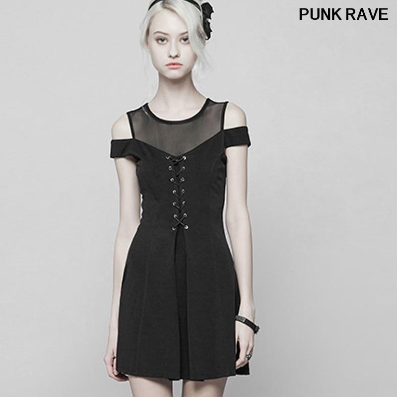 Gothique maille couture bretelles Mini a-ligne robe mode slim femmes noir tricoté lier perspective Sexy robe PUNK RAVE OPQ-367
