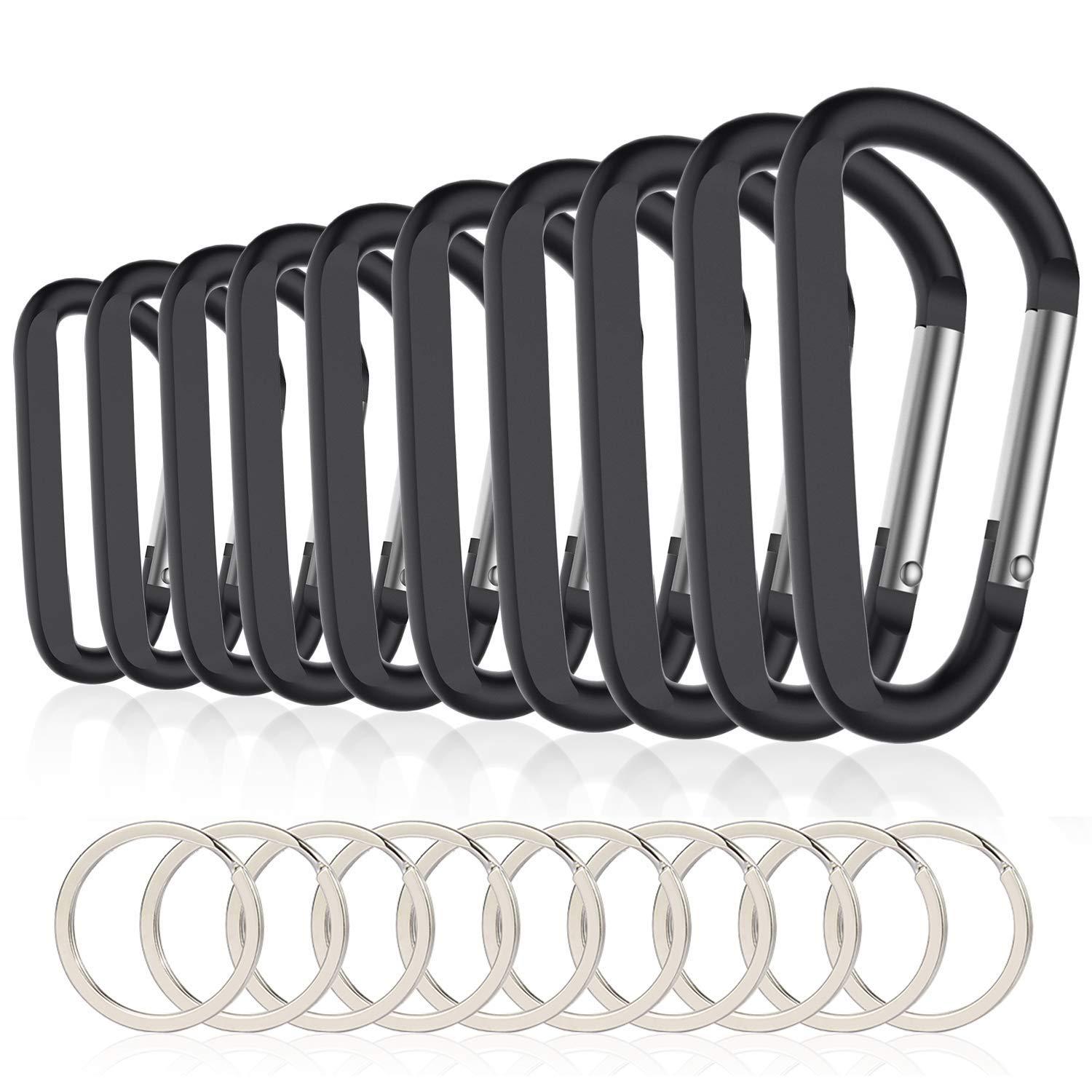 10PCS 3inch/8CM Aluminum Carabiner Clips,Premium Durable D-Ring Caribeaner With Keyring For Home RV Camping Fishing Hiking Tra