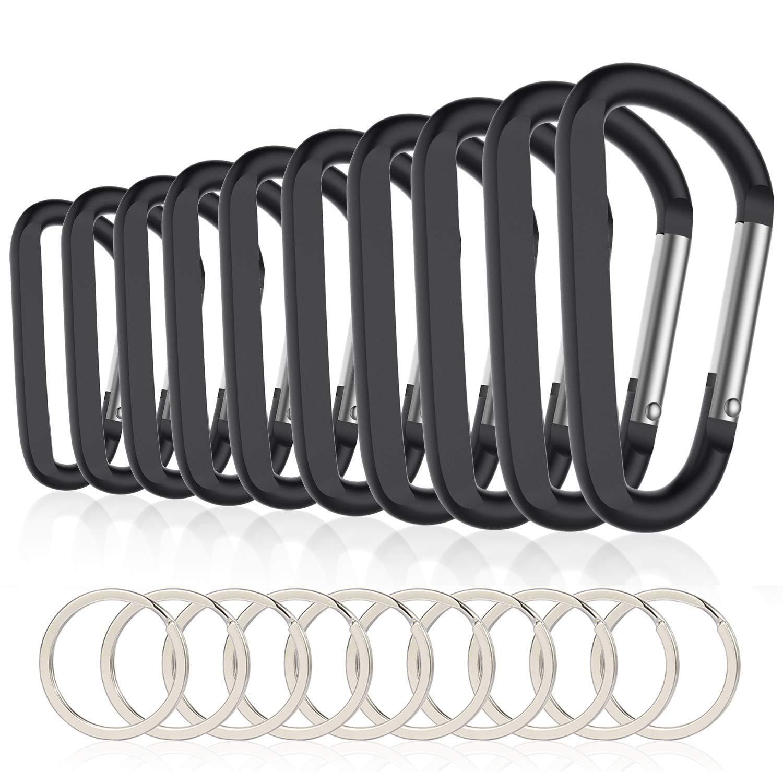 10 stücke 3 inch/8 cm Aluminium Karabiner Clips, premium Durable D-Ring Caribeaner mit Schlüsselring für Home RV Camping Angeln Wandern Tra