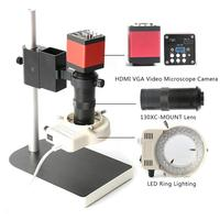 Microscope Sets HD 13MP 60F/S HDMI VGA Industrial Electron Microscope Camera+130X C Mount Lens+56 LED Ring Light+stand Holder