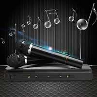 LEORY Handheld Microphone 2 Mic With Receiver For Karaoke DJ Sing Songs Dual Cordless Wireless Microphones Mobility Affordable