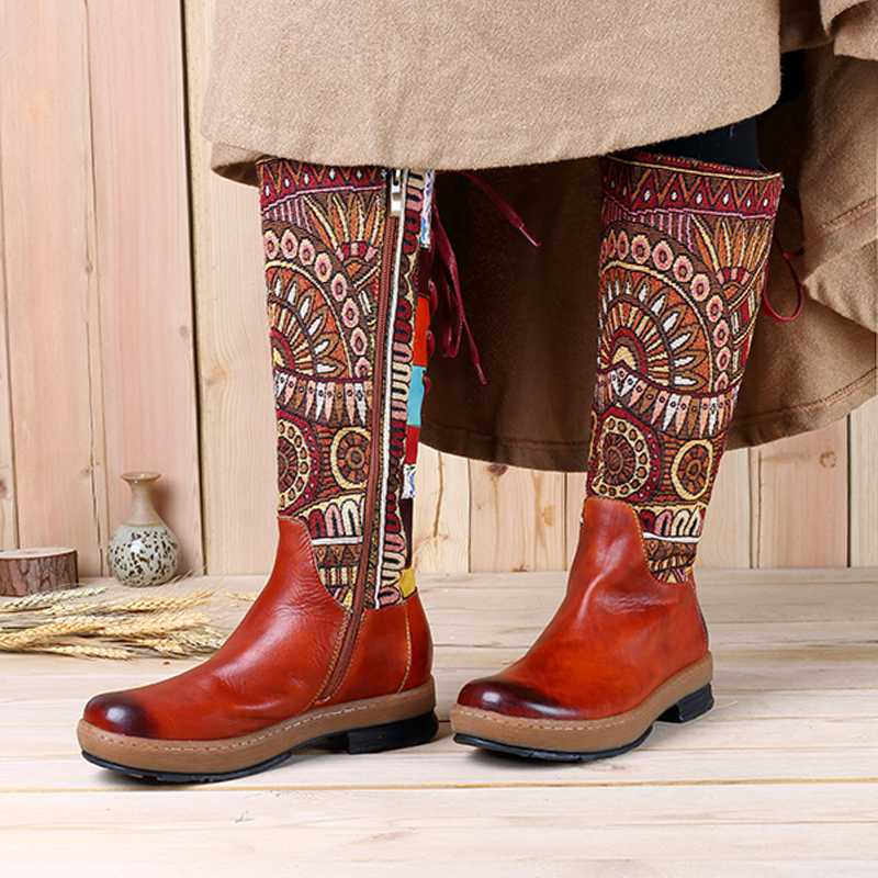 Women Vintage Motorcycle Boots