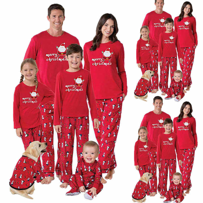 Family Matching Merry Christmas Pajamas Set Women Casual PJs Sleepwear Nightwear