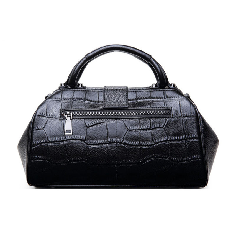 Women Genuine Leather Messenger Bags Womens Alligator Clasp Pillow Totes Bags Female Real Leather Crossbody Doctor Bag