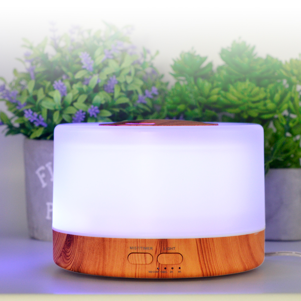 Essential Oil Diffuser Humidifier  Wood Aroma Diffuser 500ml Home Desktop Air Humidifier Mist Maker With LED Night Lamp