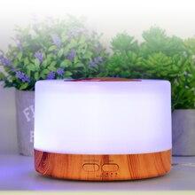 Umidificador de óleo essencial 500ml, difusor de aroma de madeira para casa desktop, produtor de vapor com lâmpada da noite led