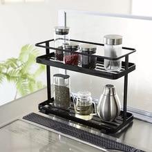 New Nordic Iron Double Layer Kitchen Storage Rack Holder Multi-function Supporter Organizer for Home Decor - Black/White