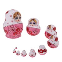 10pcs/set Wooden Russian Nesting Dolls Babushka Toy Pink Butterfly Handmade Painted Table Decoration Toys Birthday Gift