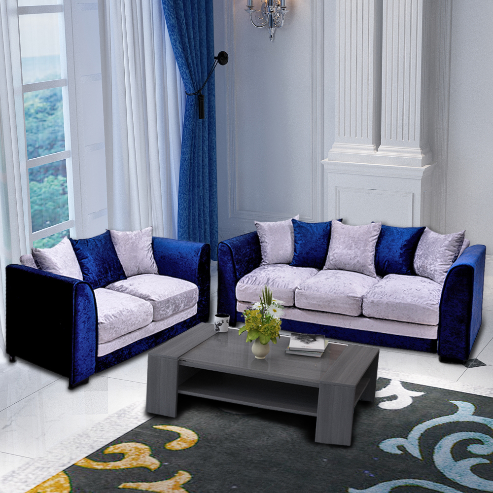 Ordinaire Panana Crushed Velvet Fabric Sofa Set /3 Seater/ 2 Seater Blue U0026 Silver  Home Livingroom Furnitures With Pillows Fast Delivery