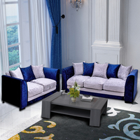 Panana Crushed Velvet Fabric Sofa set /3 Seater/ 2 Seater Blue & Silver Home Livingroom Furnitures with Pillows Fast Delivery