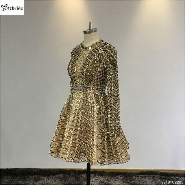 New Luxury Gold Beading Cocktail Dresses Full Sleeves Crystals Party Dresses Mini Short Backless Scoop Vintage Celebrity Dresses 1