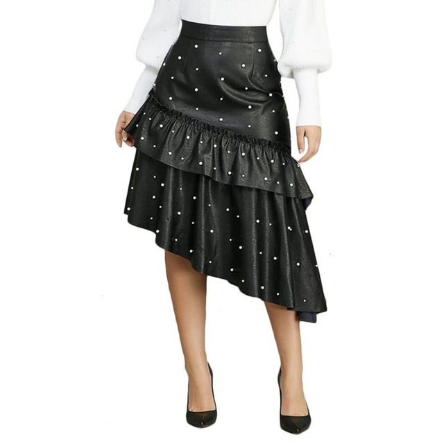 Spring Faux Leather Skirts Women Vintage Beads Elegant Black Casual Ruffle Ladies High Waist Goth Sexy Bodycon PU Pleated Skirt