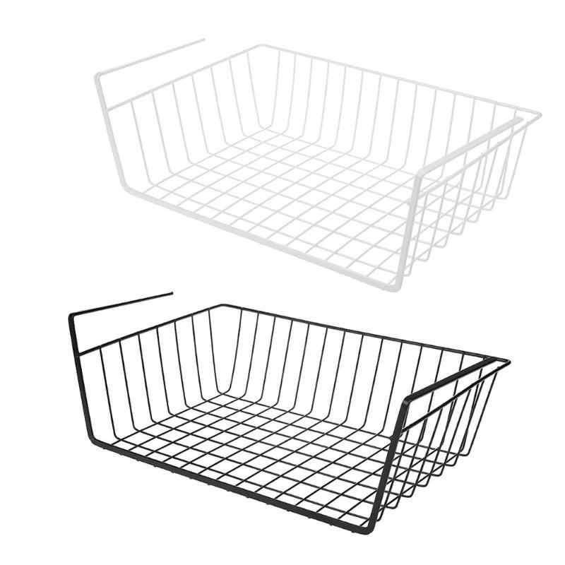 Under Shelf Storage Iron Mesh Basket Metal Cupboard Cabinet Door Organizer Rack Closet Holders Storage Basket Rack Organizer New