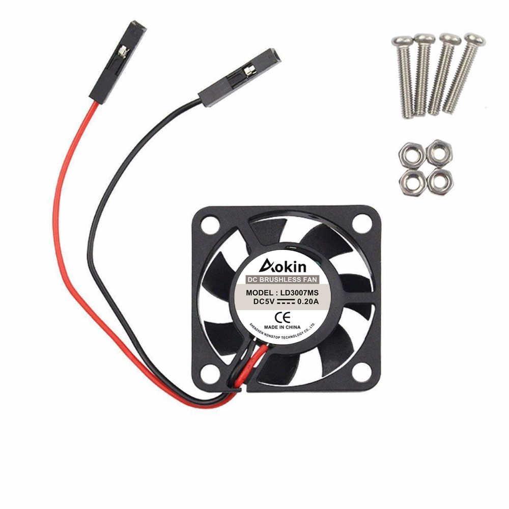 2Pcs DC 5V Brushless CPU Cooling Fan with Screws for Raspberry Pi 3//Pi 2 Model B RPI B+