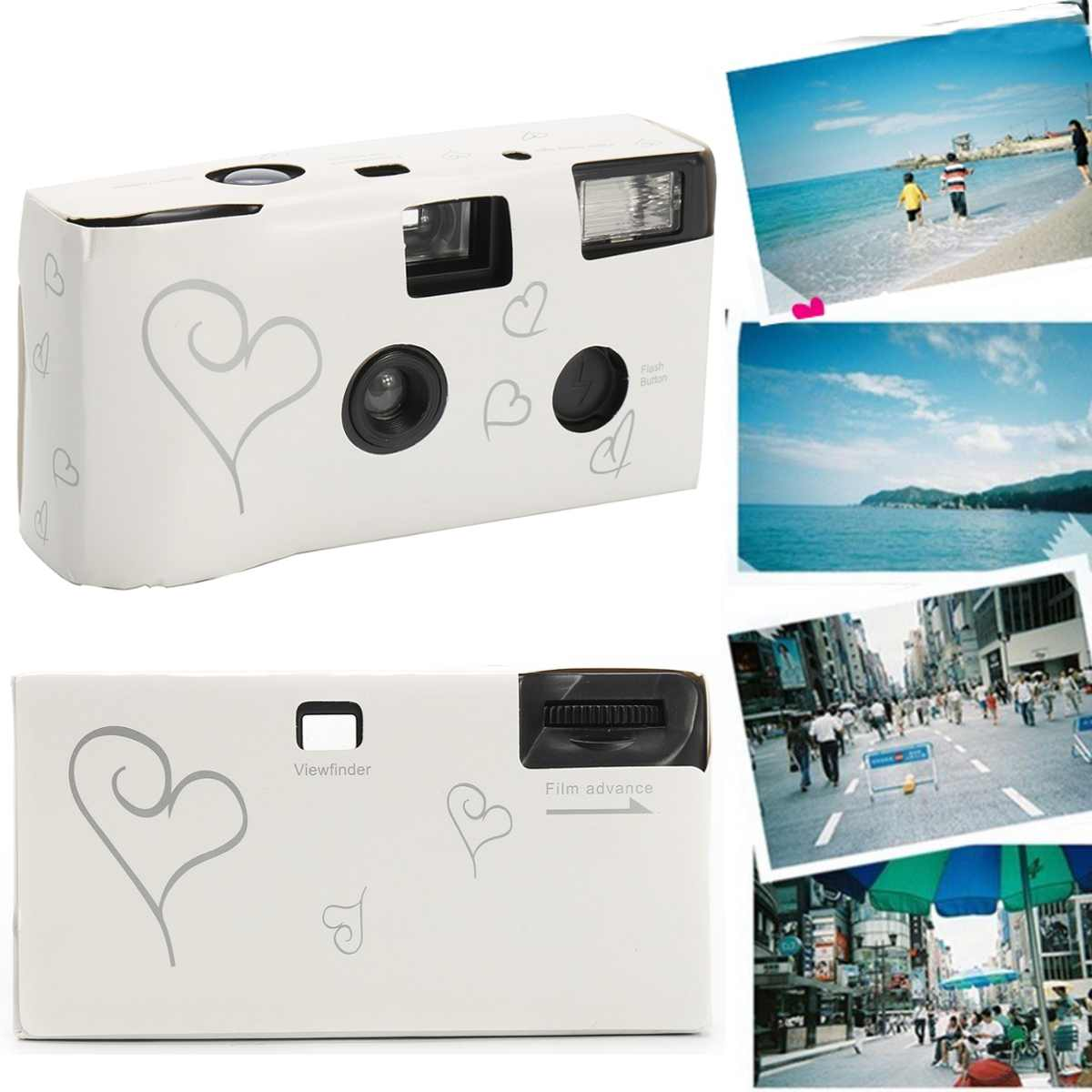 Film Camera 36 Photos White Photo Power Flash HD Single Use One Time Disposable Film Camera Party Birthday Valentine's Day Gift