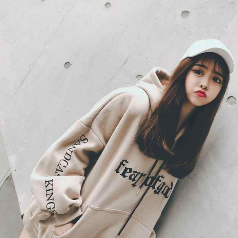 Autumn Fashion Women Hoodies Casual Fleece Loose Pullover Sweatshirt Harajuku Printed Female Hooded Tops ~