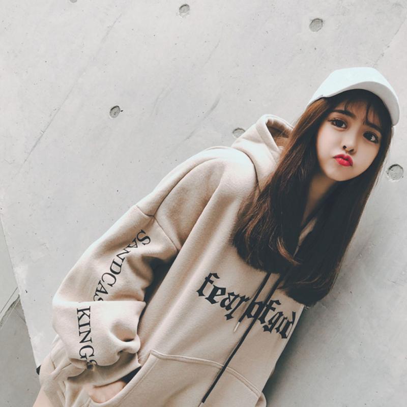 Automne Mode sweat à capuche pour femme décontracté Polaire Lâche Pull Sweat Harajuku Imprimés Féminins hauts à capuche ~