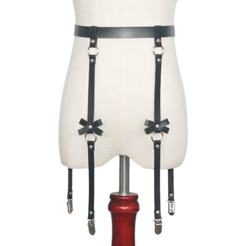 Ręcznie robione punk Rock goth Bow pończochy z podwiązkami na nogę z 4 szelkami i odpinanymi nogawkami o-ring