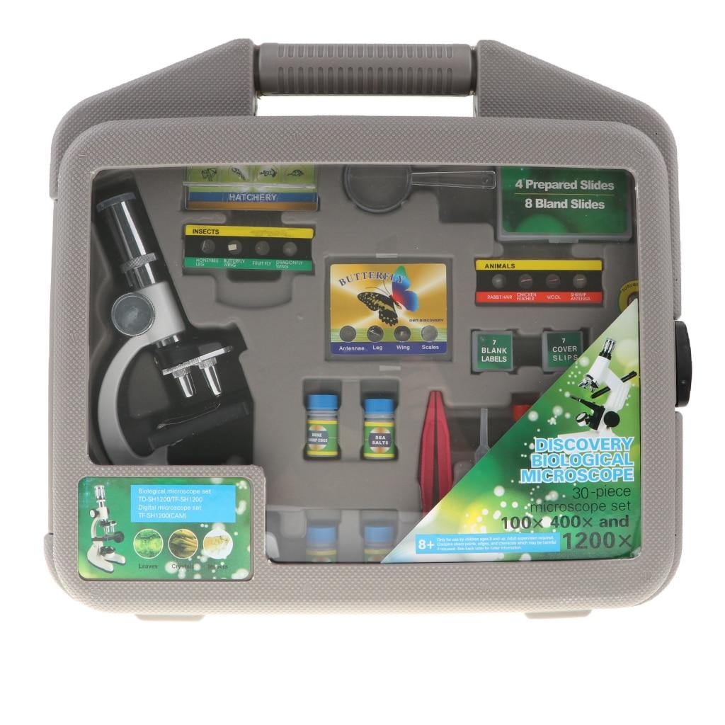 30 pièces grossissement professionnel 1200X Microscope débutant Science Kits avec boîte de transport découverte biologique jouet éducatif
