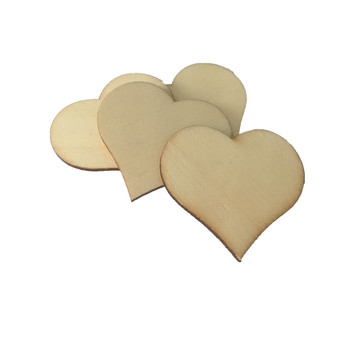 20pcs 40x38mm Rustic Blank Wood Heart Shapes Crafts Embellishments Scrapbook Confetti Wedding Table Decorations image