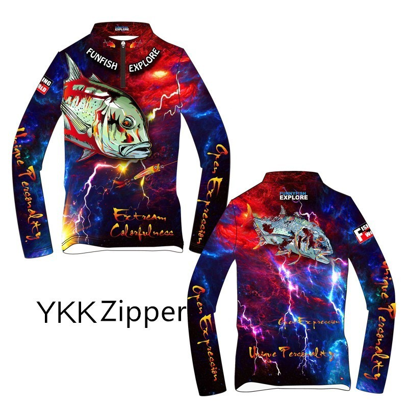 Funfis 2019 Spring Summer Long Sleeve Fishing Sweaters Outdoors Ice Silk Sun protective Fishing Clothes High