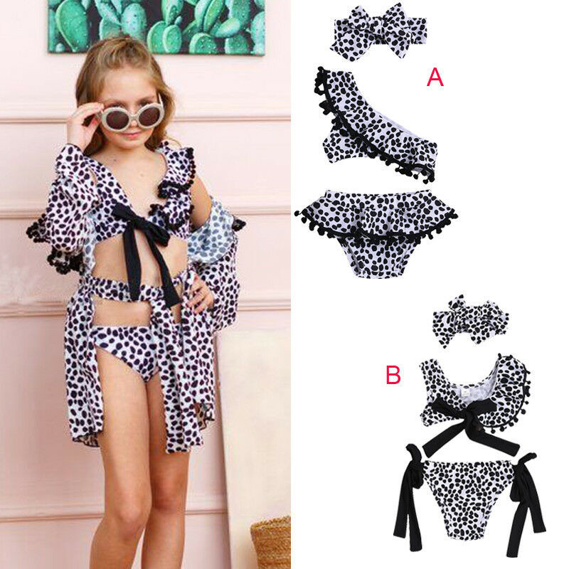2019 New Fashion Toddler Baby Girls Kids Leopard Print Swimsuit Sets 3Pcs Ruffle Bikini Set Cover-up Swimwear Beachwear